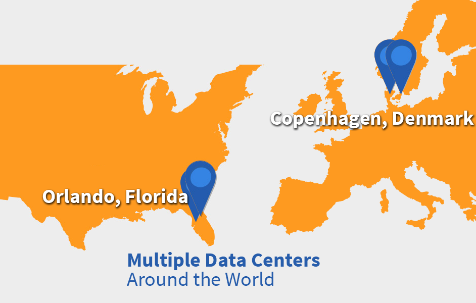 map showing Nordic Backup headquarters in FL and DK