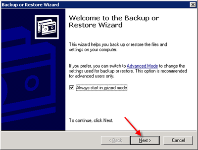 Launch Windows Backup to restore the components
