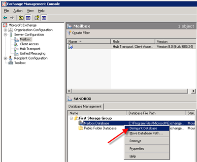 Dismount the database from exchange management console